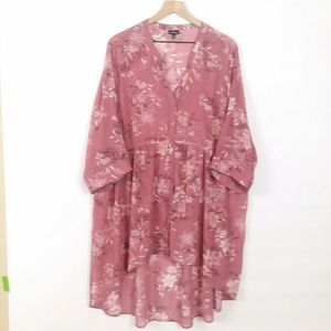 Torrid sheer floral button up high low tunic 3